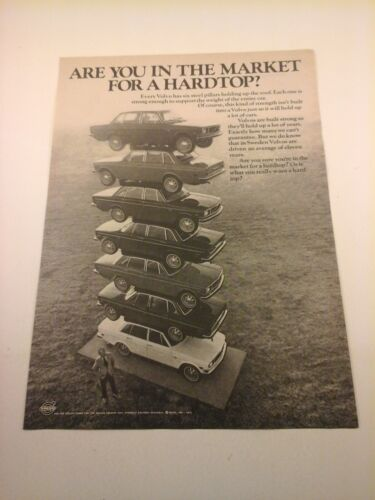 """Vtg 1971 Car Print Ad VOLVO 8""""X11""""    """"ARE YOU IN THE MARKET FOR A HARDTOP?"""""""