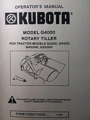 Kubota G5200h Garden Tractor 3-point Tiller Implement G4000 Owner Parts Manual