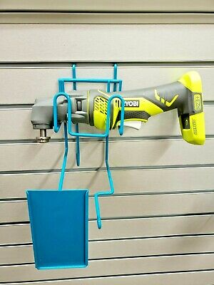 Blue Wire Slatwall Peg Board Retail Display W Sign Holder Fits Small Power Tool