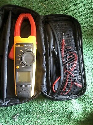 Used Fluke 375 Trms Acdc Clamp Meter Case Probes - Tested Working