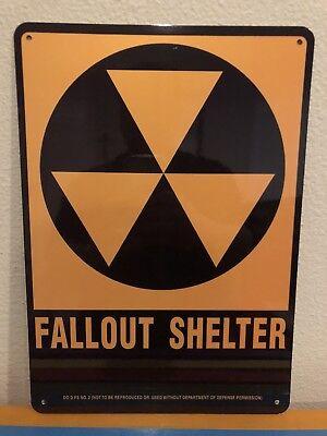FALLOUT SHELTER SIGN / ALUMINUM 10x14