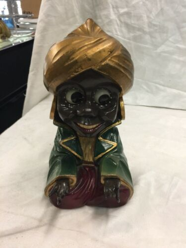 Antique Oswald Rolling Eye Aladdin Clock Carved Wood