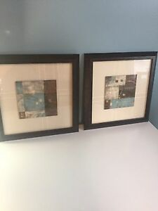 Framed set of abstract brown and blue prints