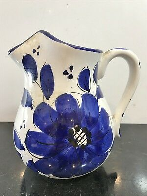 Vintage Hand Painted Milk Jug Water Pitcher Collectable - Blue Flower Design
