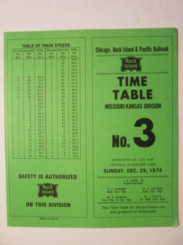 Chicago Rock Island & Pacific Time Table No. 3 1974 Missouri-Kansas  Division