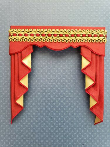 Miniature Dollhouse Red Gold Satin Valance Cornice With Pleated Tails (Jabots)