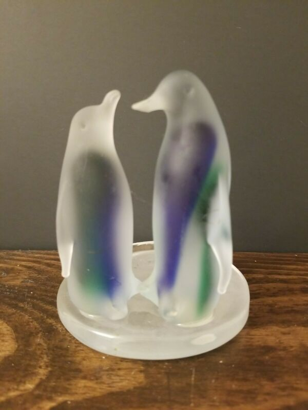 """PartyLite Frosted Blue & Green Penguin Votive Holder 5"""" Tall"""