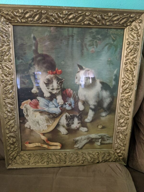 Framed Kittens Playing Wall Picture
