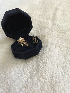 14kt gold, diamond and sapphire ring and earrings