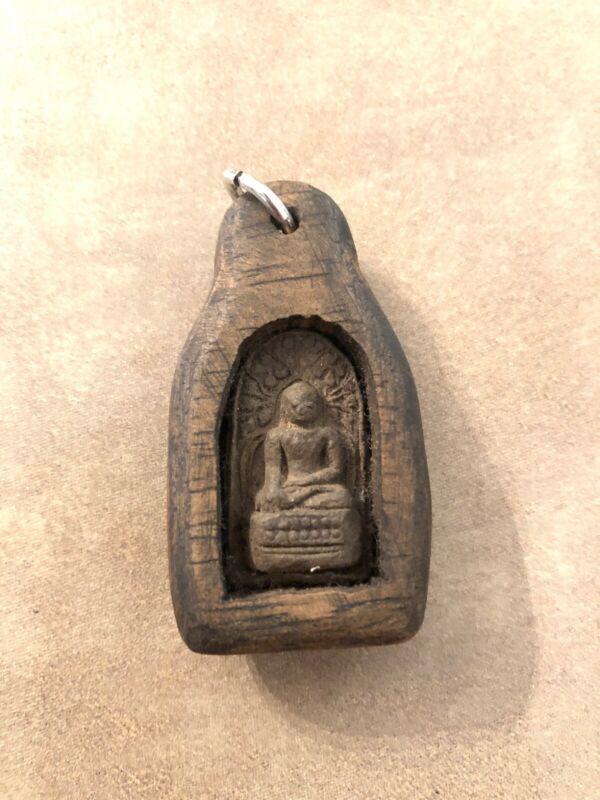 Buddha Amulet mindfulness meditation pendant Wood Frame #3