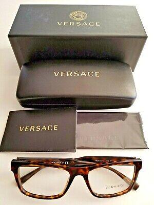 Brand New Men's VERSACE Dark Havana Rectangular Classic Designer Eyeglass (Versace Designer Eyeglasses)