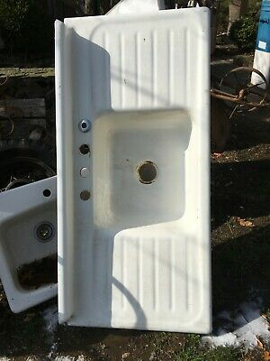 Vintage Cast Iron Farm Style Kitchen Sink w/ Double Drainboards 54in x 25in