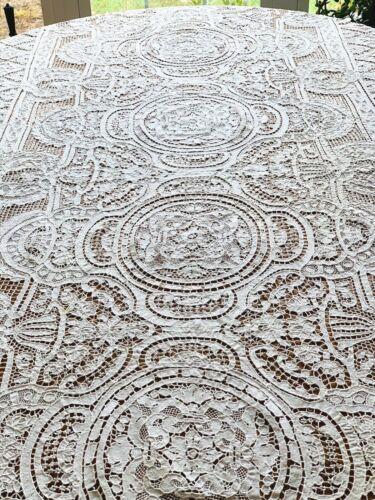 """Vintage Point De Venise White Lace Tablecloth 114"""" x 62"""""""