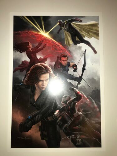 SDCC COMICCON BLACK WIDOW SIGNED + SKETCH ANDY PARK AVENGERS HAWKEYE POSTER!