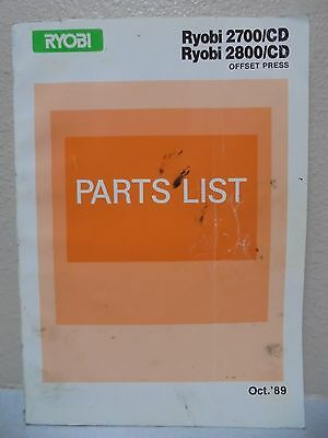 Ryobi Offset Press 2700cd 2800cd Parts Manual Oct 1989