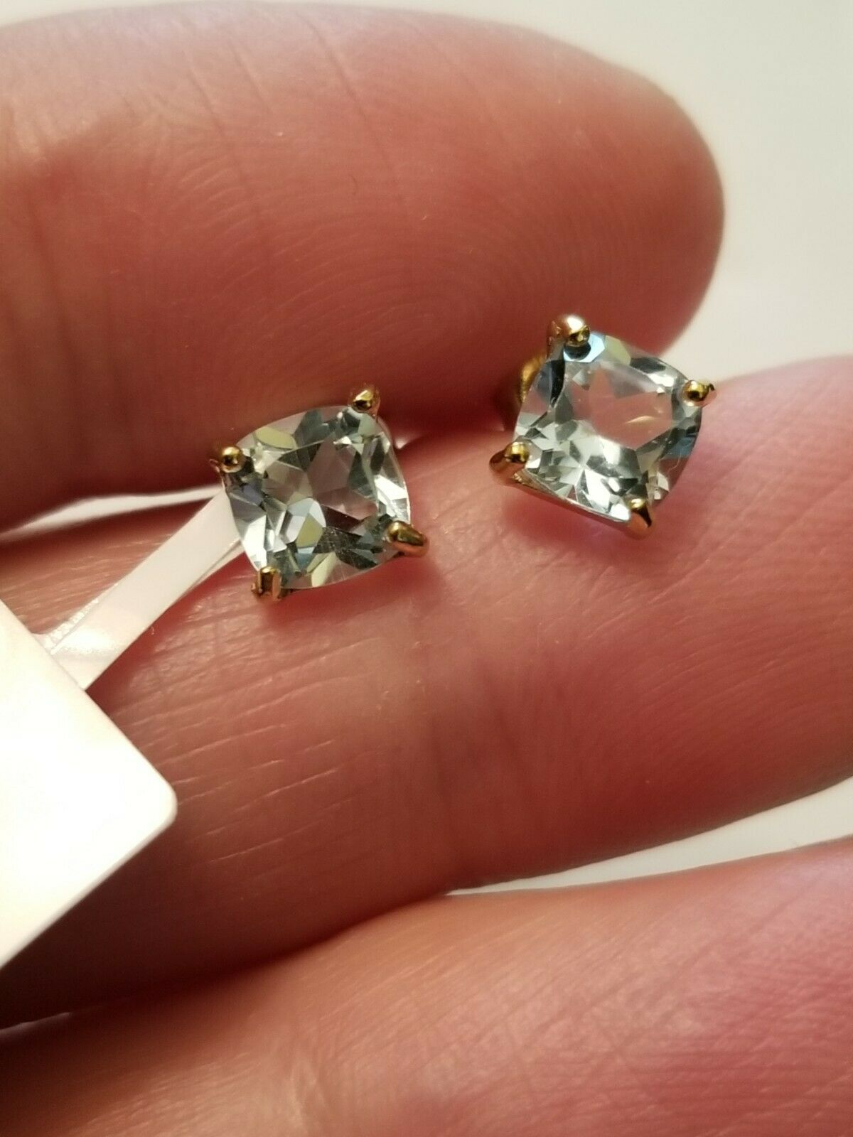 1.45 CT BABY SWISS BLUE TOPAZ 10KT SOLID YELLOW GOLD EARRINGS STUD 6MM - $69.99