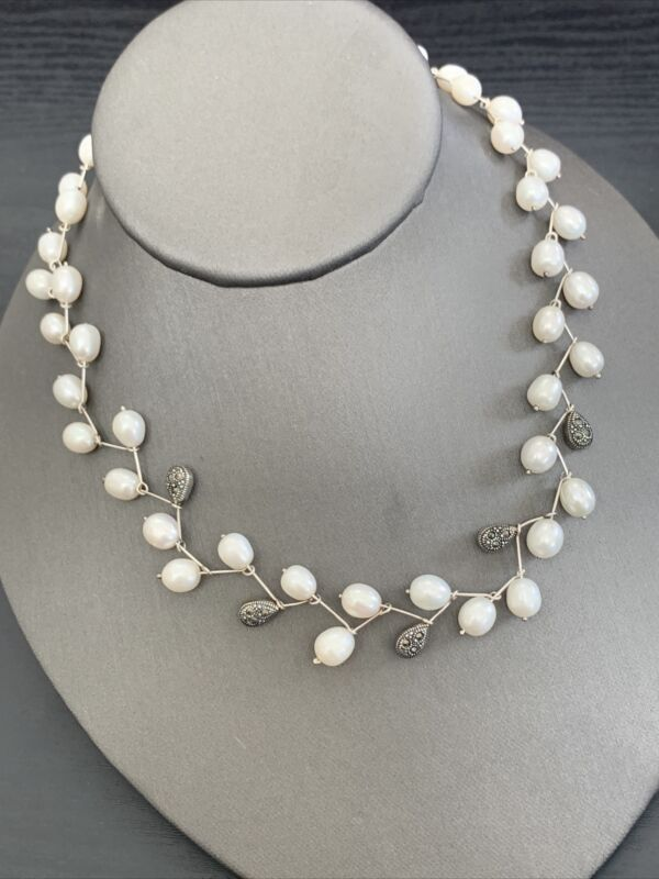 """Sterling Silver Necklace Freshwater Pearl Marcasite Artist Signed DBJ 16""""  WOW!"""