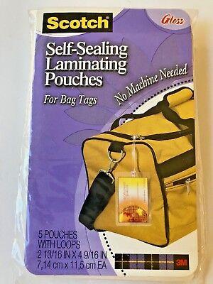3m Self Sealing Laminating Bag Tags Pack Of 5 New