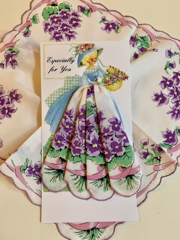 Cheerful New Floral Pansies Handkerchief Gift Card - All Occasion