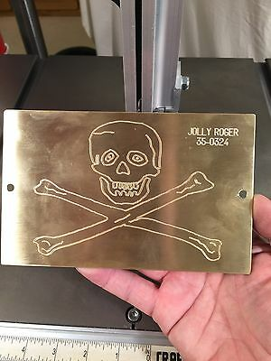 Huge Jolly Roger Solid Brass Engraving Plate For New Hermes Font Tray