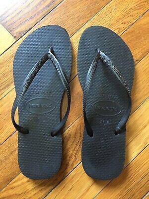 Havaianas Flip Flops Black Beach Sandals Woman's Size US 7/8 Eur 39/40