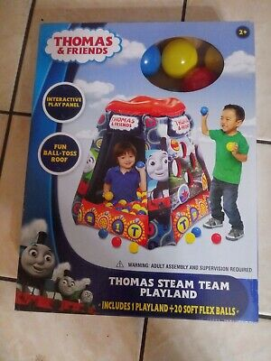 "THOMAS & FRIENDS ""THOMAS STEAM TEAM PLAYLAND"" PLAYLAND +20 SOFT FLEX BALLS (NIB)"
