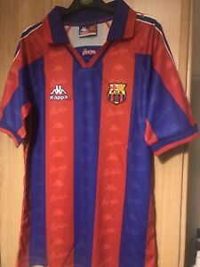Barcelona 1995-1997 Retro Football Shirt Size Large Ronaldo Messi f90c2cbe769af