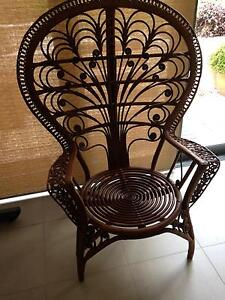 LARGE RATTAN PEACOCK CHAIR WITH CUSHION IN PERFECT CONDITION Mosman Mosman Area Preview