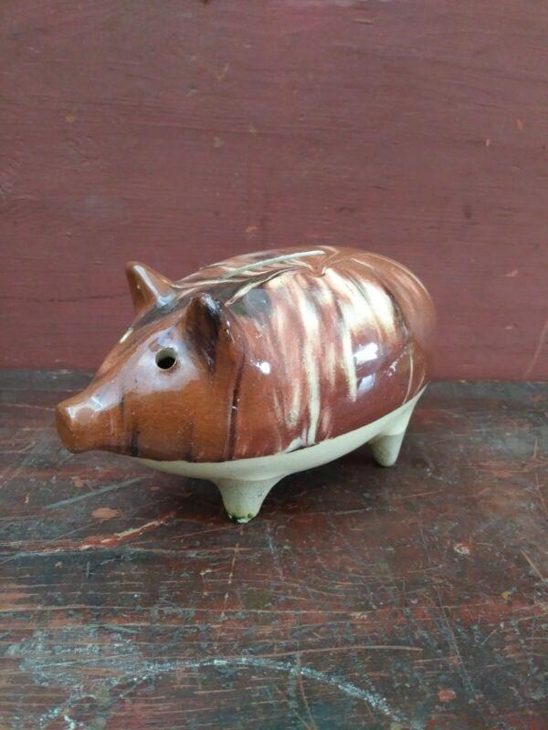 19th Century Ceramic Pottery Pig Form Bank