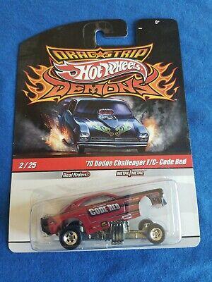 2010 Hot Wheels Demons 70 DODGE CHALLENGER FUNNY CAR Code Red EXCELLENT CARD