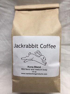 Jackrabbit Coffee - Kona Blend - 14oz Ground - Mild flavor and moderate body