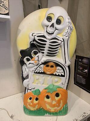 HTF Sun Hill Skeleton Tombstone Cat Double Sided pumpkin Halloween Blow mold !!