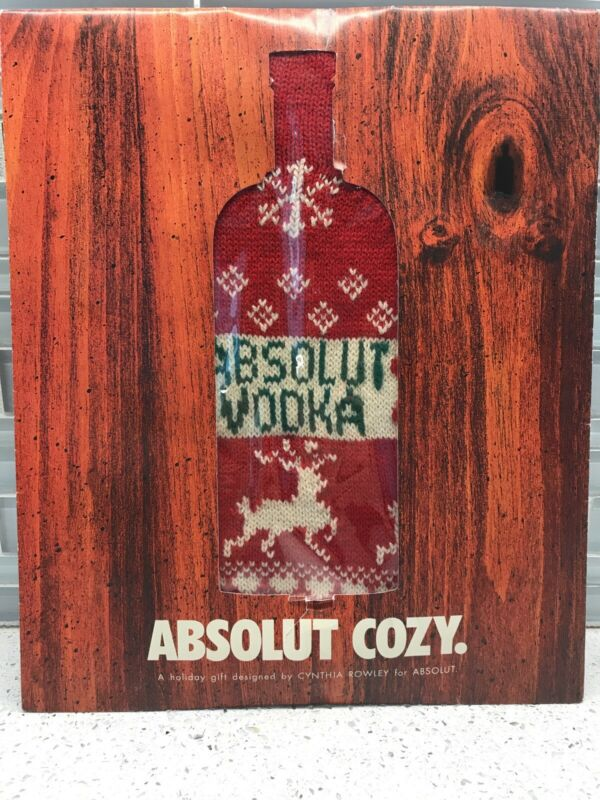 Absolut Vodka Cynthia Rowley Ugly Christmas Sweater Bottle Cover Advertising