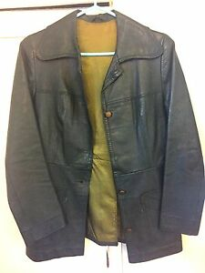 Ladies forest green vintage leather jacket size 38