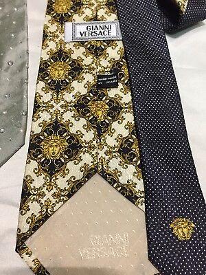 Vintage Gianni Versace Silk Black Gray Yellow Iconic Medusa Stripe Tie