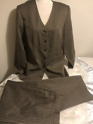 Sweet Suit Woman Pant Suit Brown Stripe Womens 14W Blazer & Pants Unlined