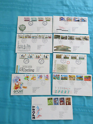 9 x Royal Mail First Day Covers: Transport & Sport see photos for details