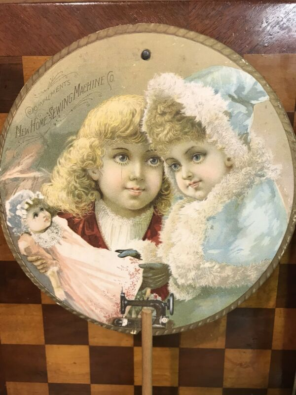 Victorian New Home Sewing Machine Advertising Fan Christmas Girl Children Doll