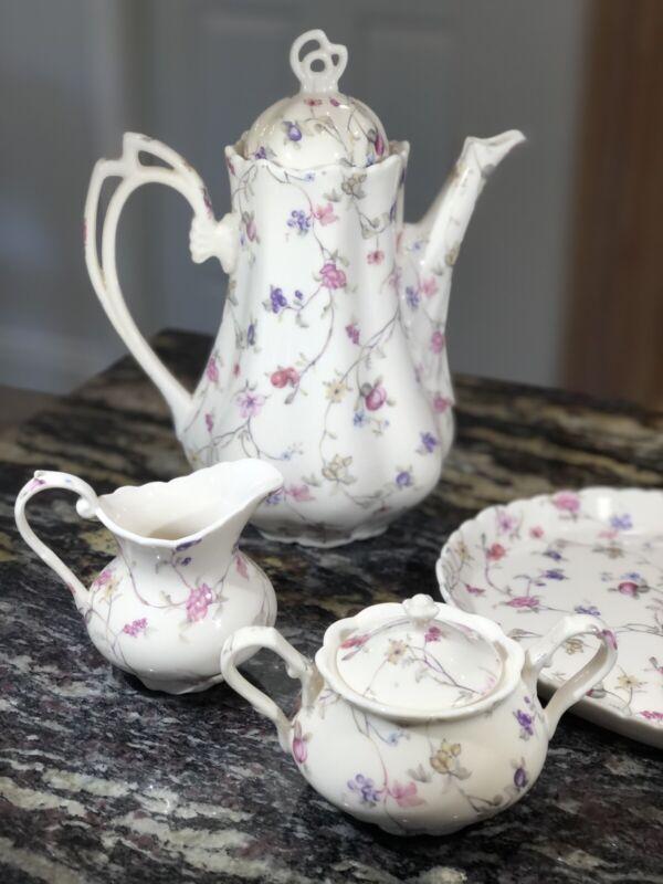 English Countryside Full Size Tea Set - Teapot, Creamer & Sugar - Floral Print