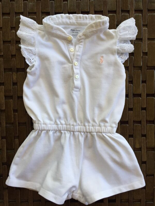 RALPH LAUREN BABY GIRL WHITE BATHING SUIT ROMPER CLOTH COVER-UP Size 12 Month