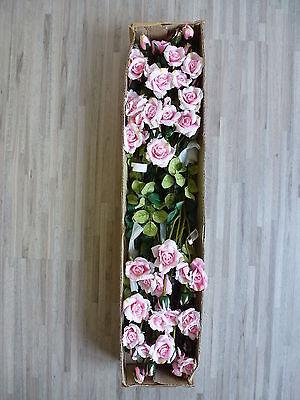12 x Rose Strauchrose 12tlg Set Seidenblume Kunstpflanze rosa 70 cm 26883-10 F8