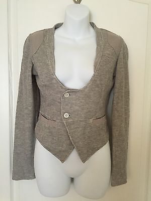 (Womens~DIESEL~Gray fitted Sweatshirt Jacket~Size 2XS~buttons~pockets~Cotton )