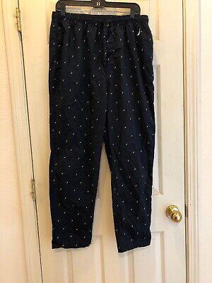 Vintage NAUTICA Mens Pajama Pants Large Blue Embroidered Logo