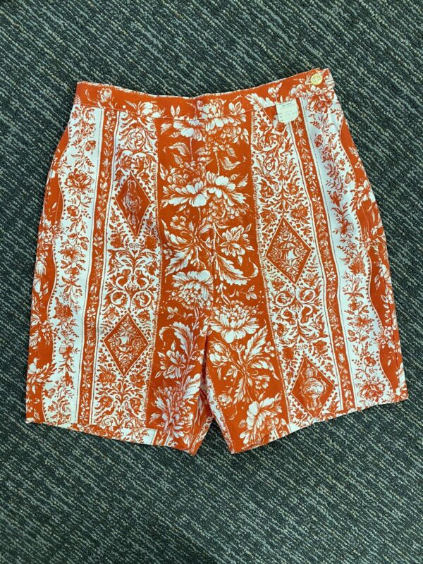 Best! VTG 1950s 60s NOS Red Floral Print High Waist Shorts M
