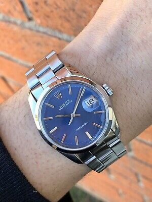1977 Rolex Oysterdate 6694 Blue Dial Men's Wristwatch Authentic Oysterdate