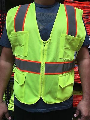 XXL  ANSI CLASS 2  Bordered Reflective Tape/  High Visibility Safety Vest