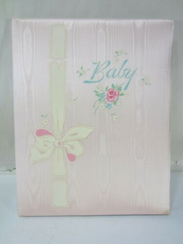 """Vintage Gibson Baby Record """"Our Own Baby"""" Pink Padded Memory Book-Unused"""