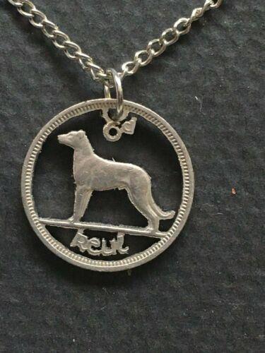 Ireland  Cut Coin Pendant Vintage Irish Wolfhound Dog