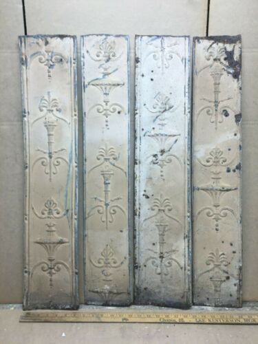 "4 pc 31"" x 6.5"" Fancy Antique Ceiling Tin Vintage Reclaimed Salvage Art Craft"
