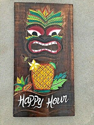 Carved Wood Sign - AWESOME HAPPY HOUR HAND CARVED WOOD SIGN WALL ART TROPICAL PATIO TIKI DECOR